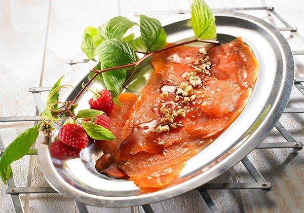 Recette truite fumée sauce aux noix, vinaigre et framboise